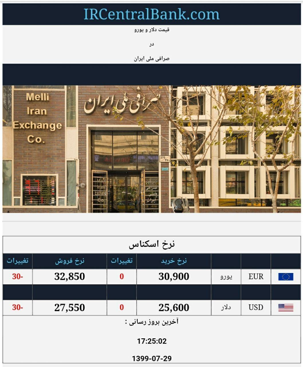قیمت دلار و یورو در صرافی ملی امروز 29 مهر 99