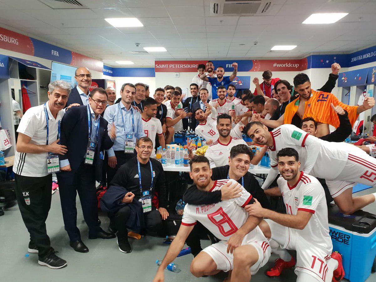 شادی بازیکنان تیم ملی بعد از برد مقابل مراکش
