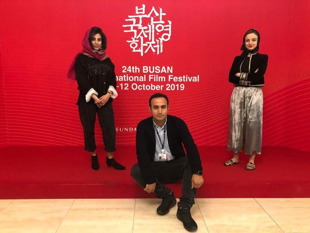 آناهیتا افشار، ندا جبرائیلی و نوید محمودی، روی فرش قرمز جشنواره بوسان