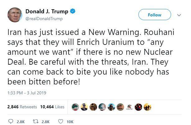 ترامپ: ایران؛ مراقب تهدیداتت باش!