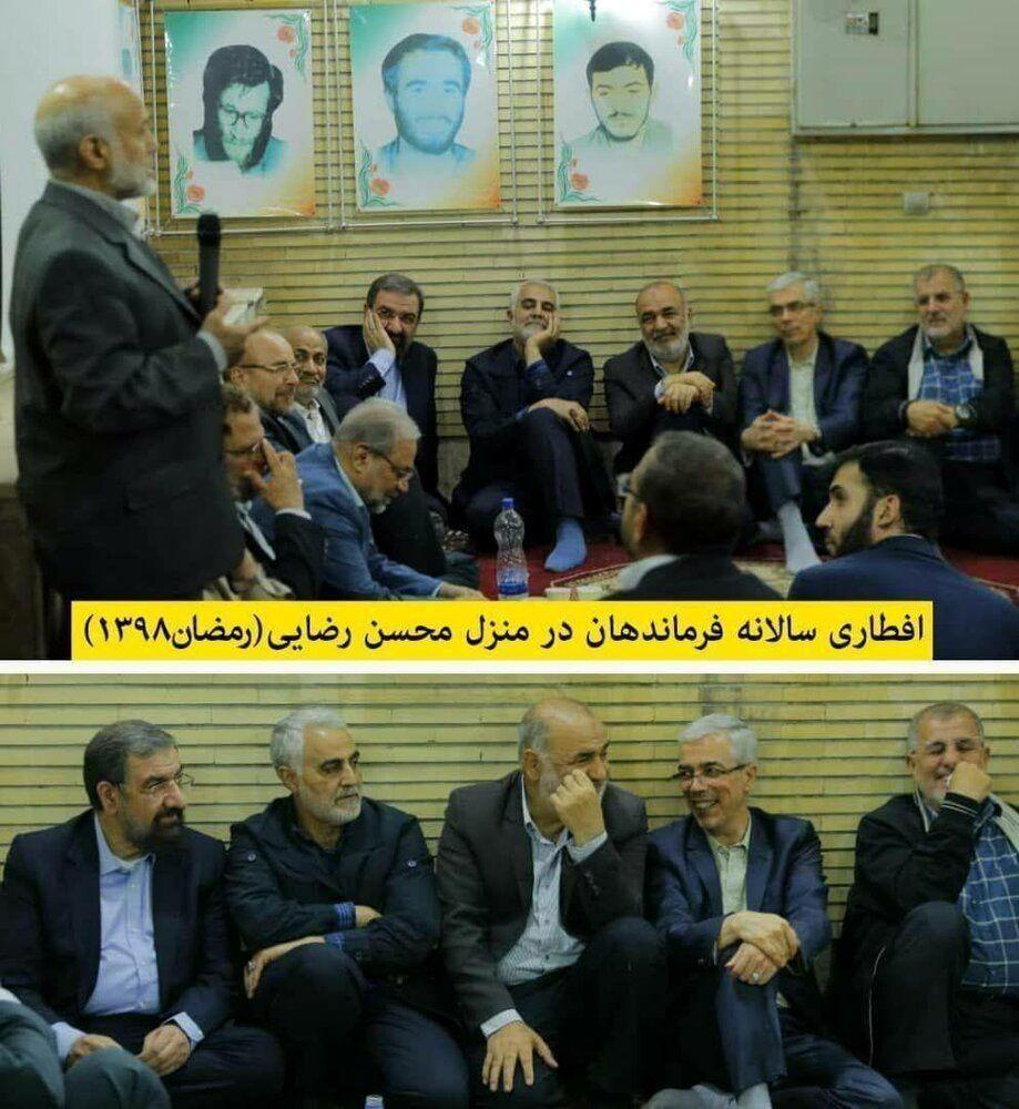 عکسی خاص از آخرین افطار سردار سلیمانی و فرماندهان نظامی در منزل محسن رضایی