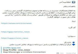 توقف فعالیت کانال تلگرامی دبیرخانه شورای عالی امنیت ملی