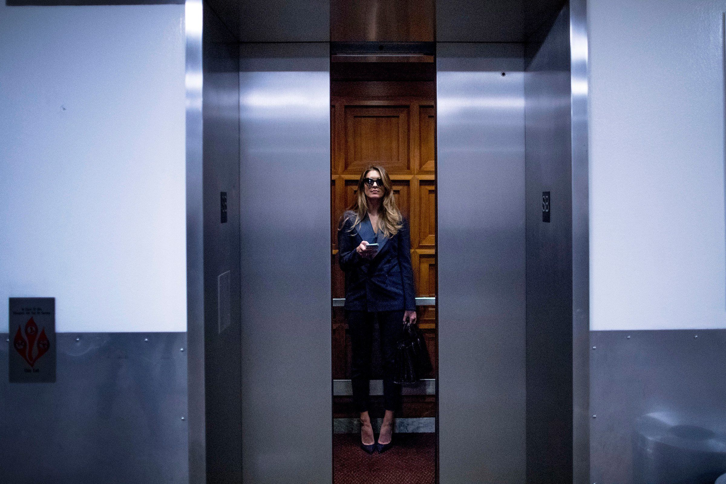 Hope Hicks, the former White House communications director, leaves following a closed-door interview with the House Judiciary Committee in Washington on June 19.