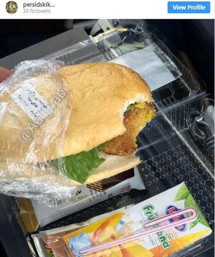وعده غذایی فلافل در هواپیمای ایرانی / عکس
