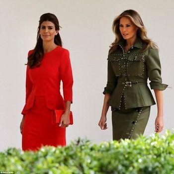همسر ترامپ در لباسی با طرح نظامی! + عکس