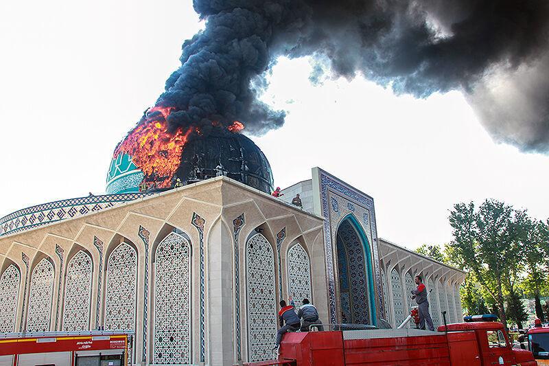 """آتش سوزی گنبد مسجد """"مالک اشتر"""" ستاد ناجا"""