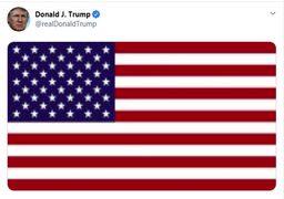 ترامپ پیامی توئیتری با عکسی از پرچم آمریکا منتشر کرد