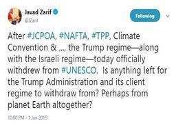ظریف: ترامپ شاید از کره زمین هم خارج شود