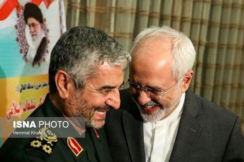 برخورد بسیار صمیمانه وزیر امور خارجه و فرمانده کل سپاه پاسداران + عکس
