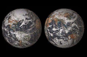 تصویر ۳.۲ گیگاپیکسلی از زمین با ترکیب تصاویر ارسالی مردم