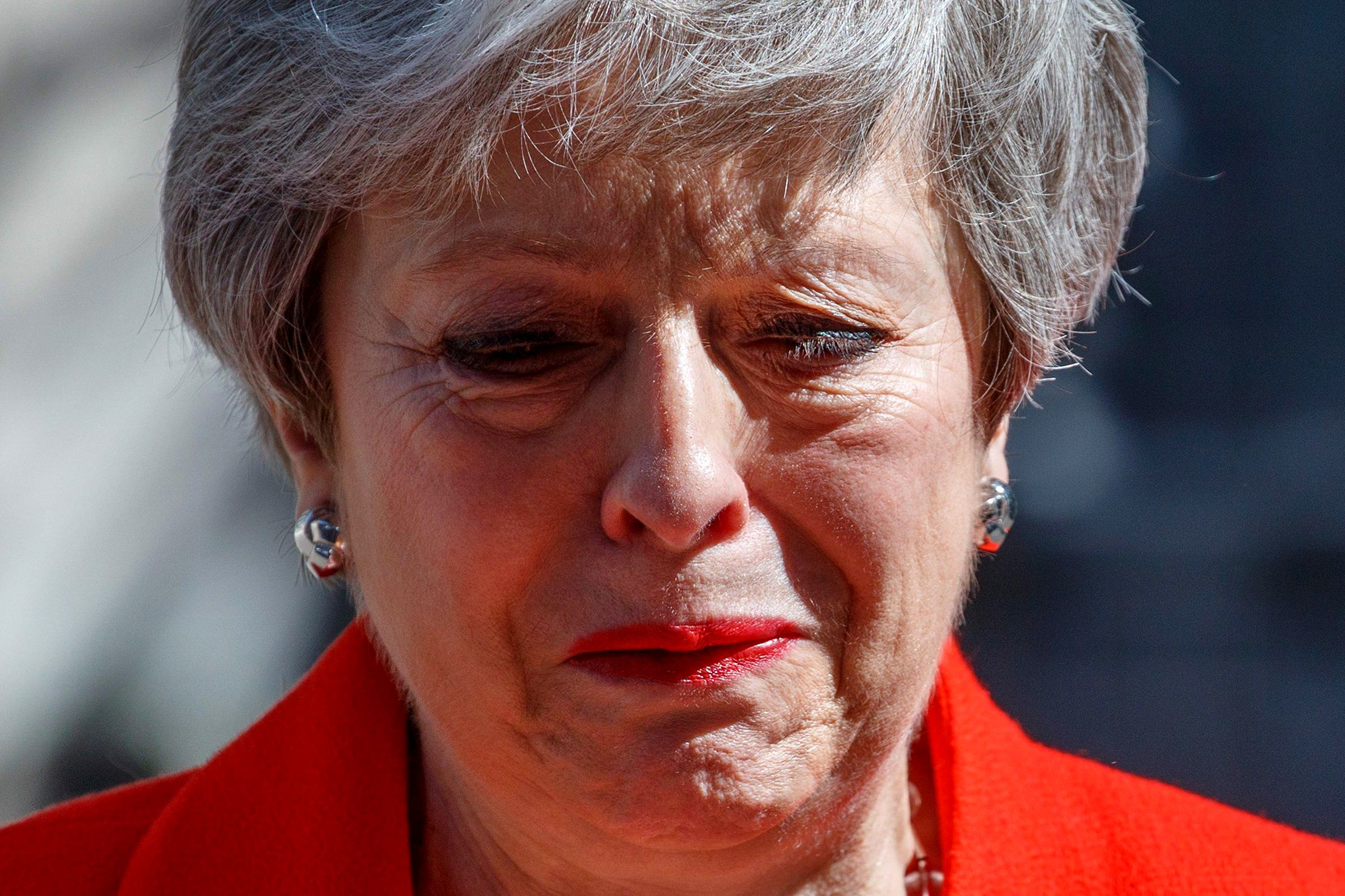 Britain's Prime Minister Theresa May, leader of the U.K.'s ruling Conservative Party, announces her resignation in London on May 24. Her resignation took effect in June.