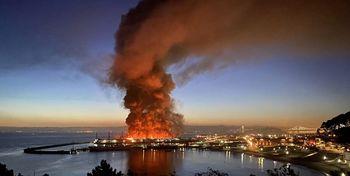 آتشسوزی گسترده در منطقه توریستی «اسکله۴۵» +فیلم