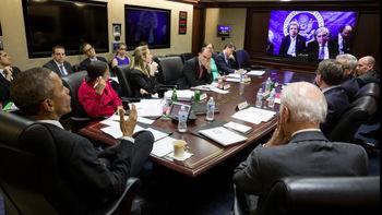 ویدئوکنفرانس کری با اوباما از لوزان +عکس
