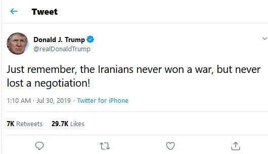 ترامپ: ایرانی ها هرگز در مذاکره شکست نخوردهاند