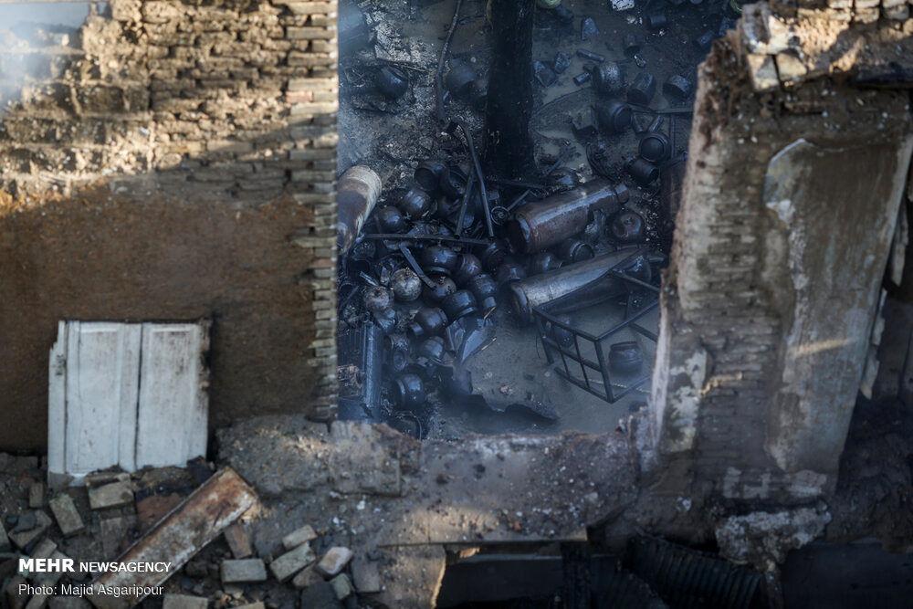 تصاویر: انفجار و آتشسوزی در کارگاه شارژ سیلندرهای گاز