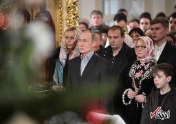 حضور ولادمیر پوتین در مراسم کریسمس کلیسای زادگاهش + عکس
