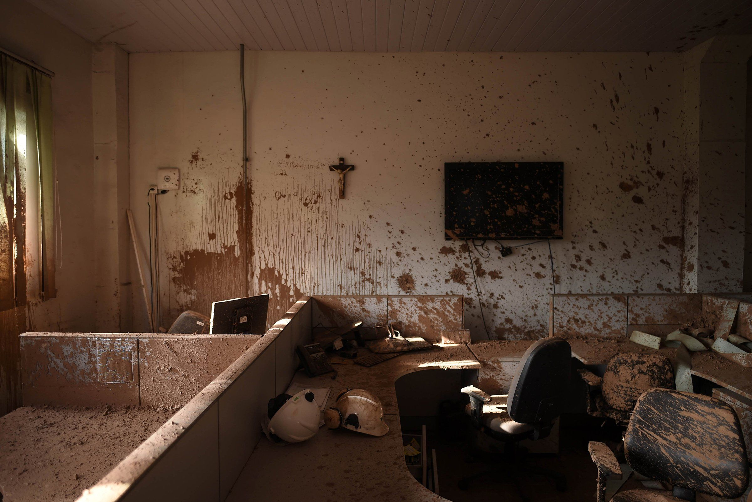 A mud-caked office at the mining company Vale, 20 days after the deadly rupture of a tailings dam in Córrego do Feijão, near Brumadinho, in Brazil on Feb. 13.