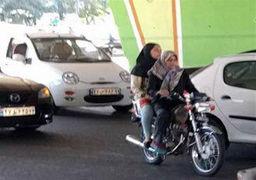 موتورسواری خانم هنرمند سینما در خیابان+ عکس