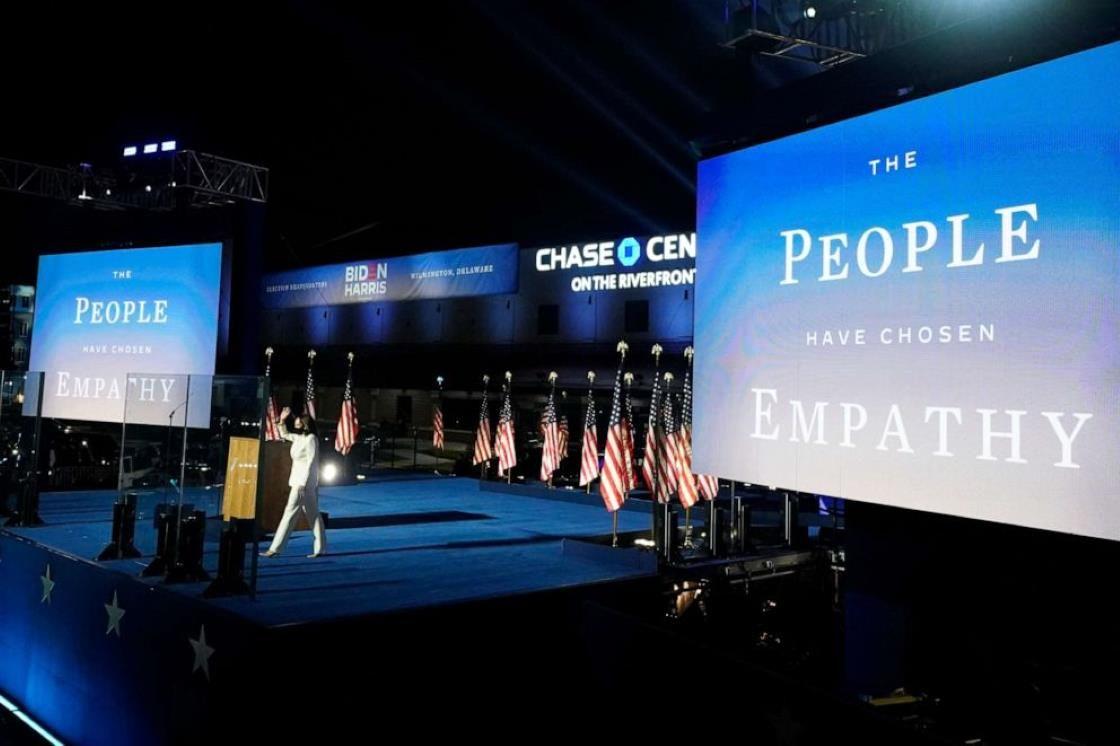 Vice President-elect Kamala Harris arrives to speak Saturday, Nov. 7, 2020, in Wilmington, Del.