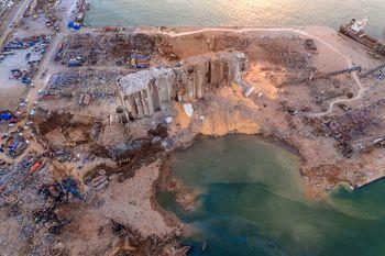فیلم  وسعت تخریب بندر بیروت به روایت تصاویر پهپادها
