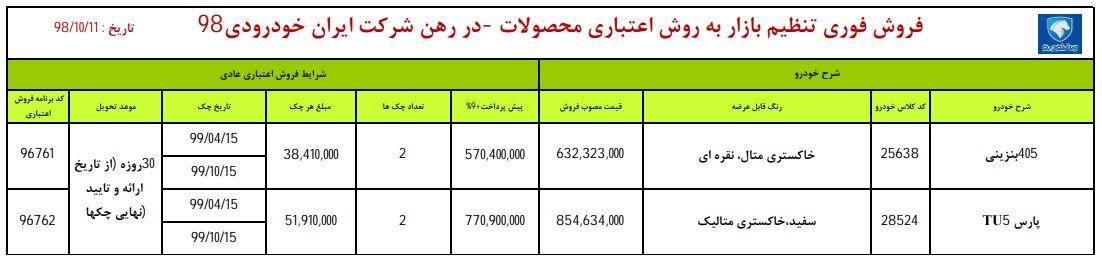 فروش اقساطی پژو 405 و پژو پارس در روز چهارشنبه 11 دی ماه